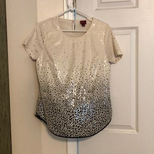 Black and cream sequin top